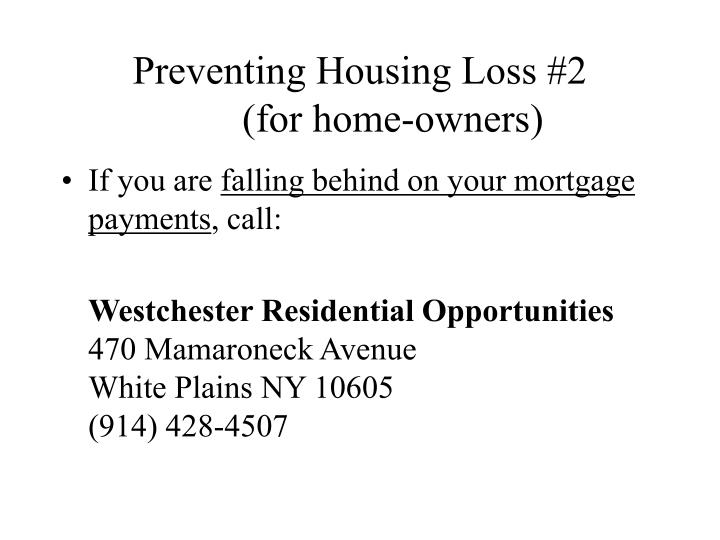 Preventing Housing Loss #2