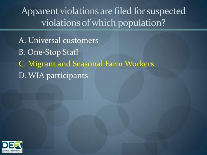 Apparent violations are filed for suspected violations of which population?