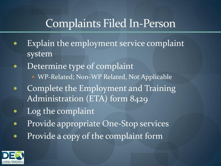 Complaints Filed In-Person