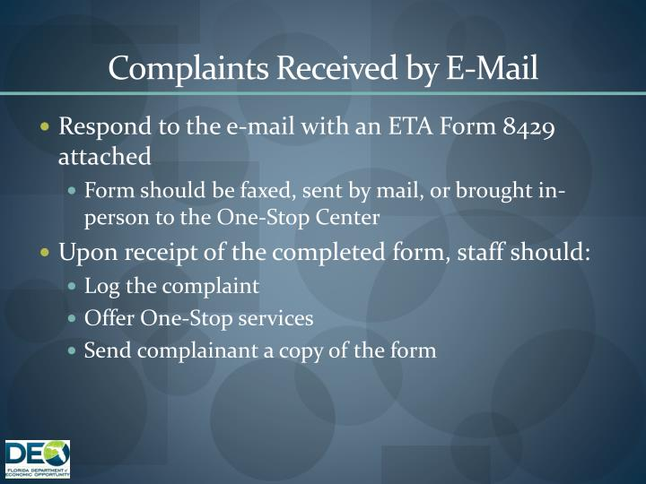 Complaints Received by E-Mail