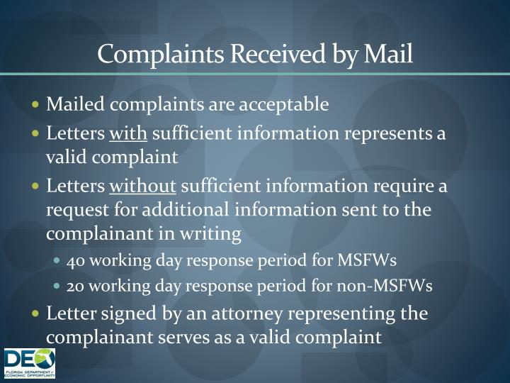 Complaints Received by Mail