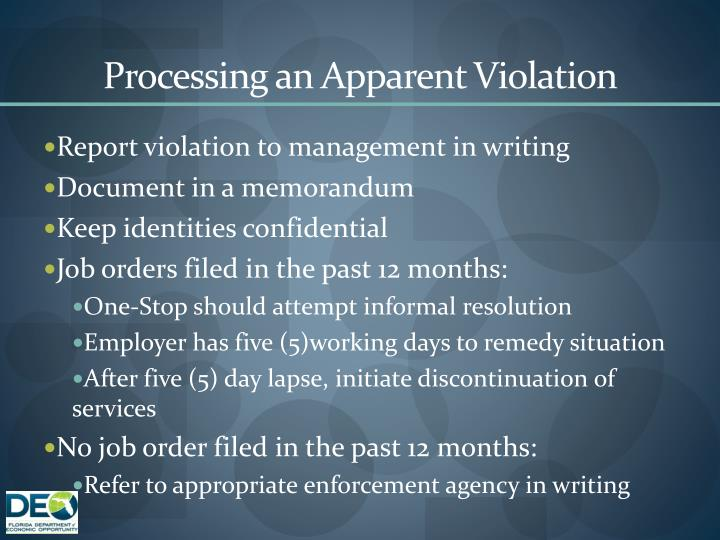 Processing an Apparent Violation