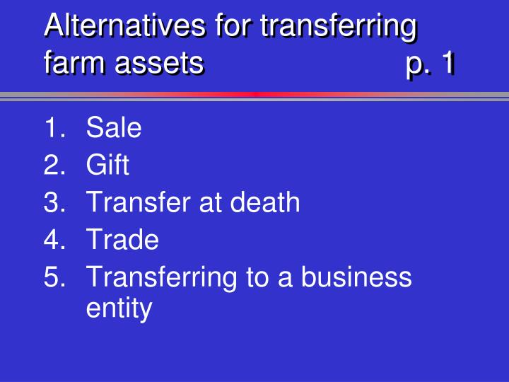 Alternatives for transferring farm assets p 1