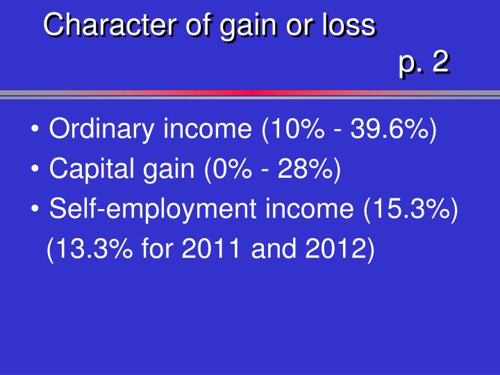 Character of gain or loss