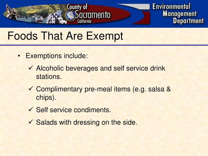 Foods That Are Exempt