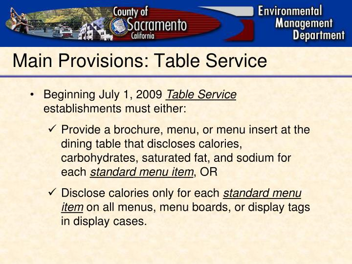 Main Provisions: Table Service
