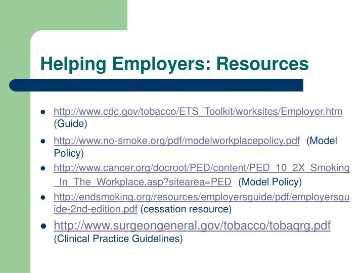 Helping Employers: Resources