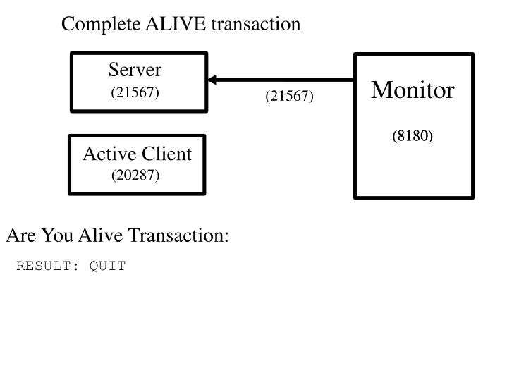 Complete ALIVE transaction