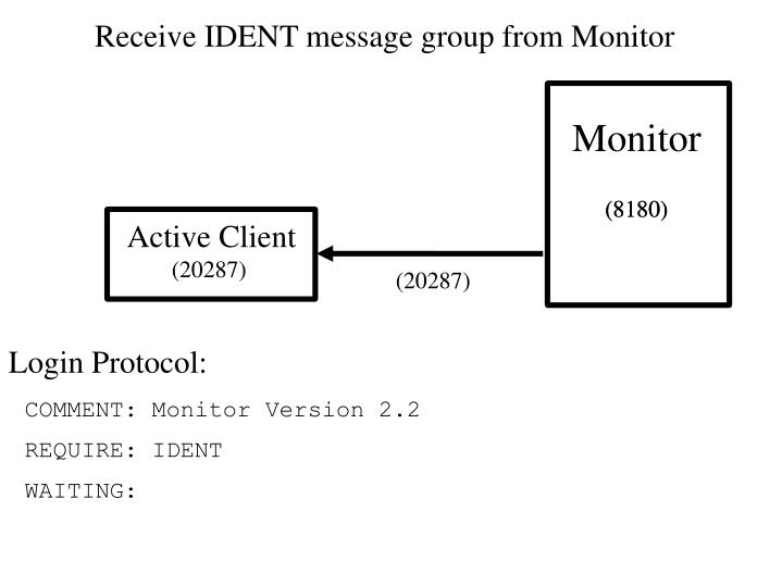 Receive IDENT message group from Monitor