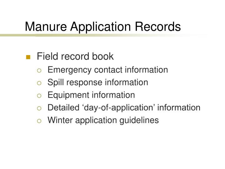 Manure Application Records