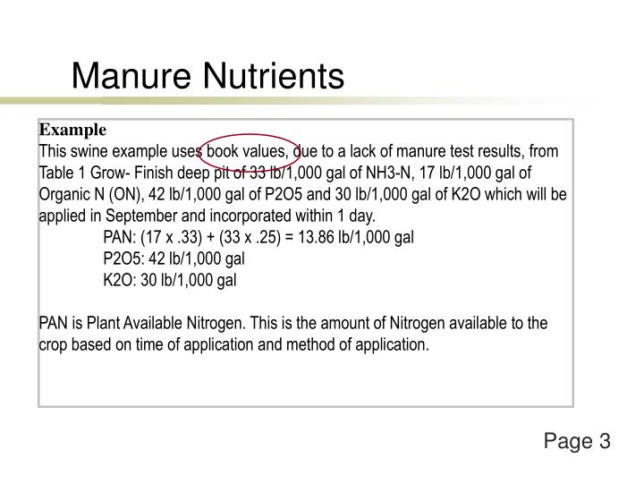 Manure Nutrients