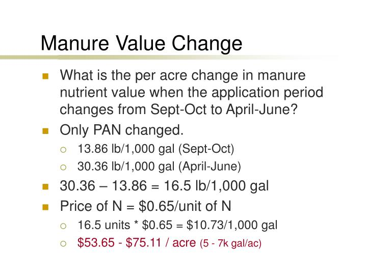 Manure Value Change
