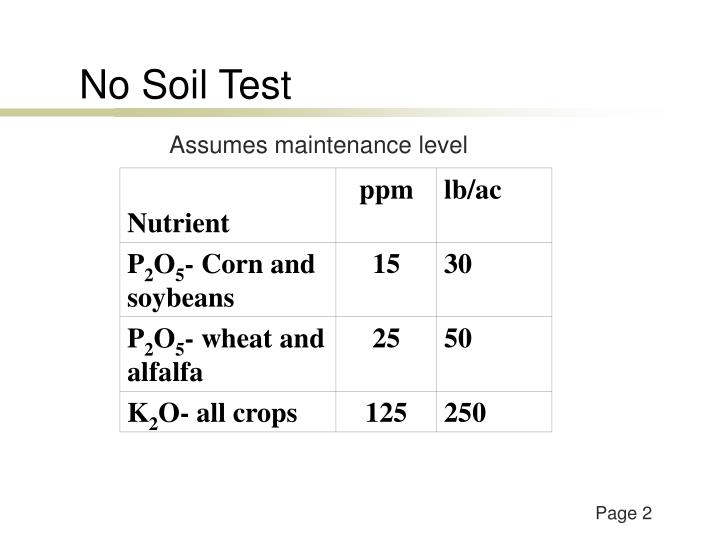 No Soil Test