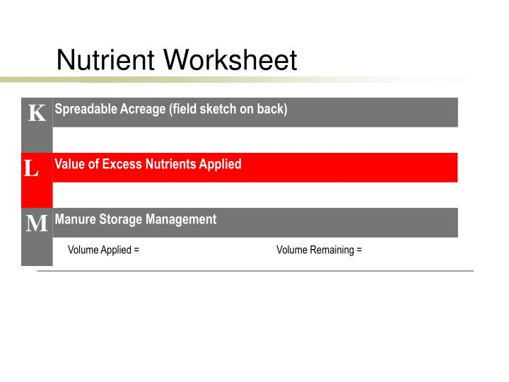 Nutrient Worksheet