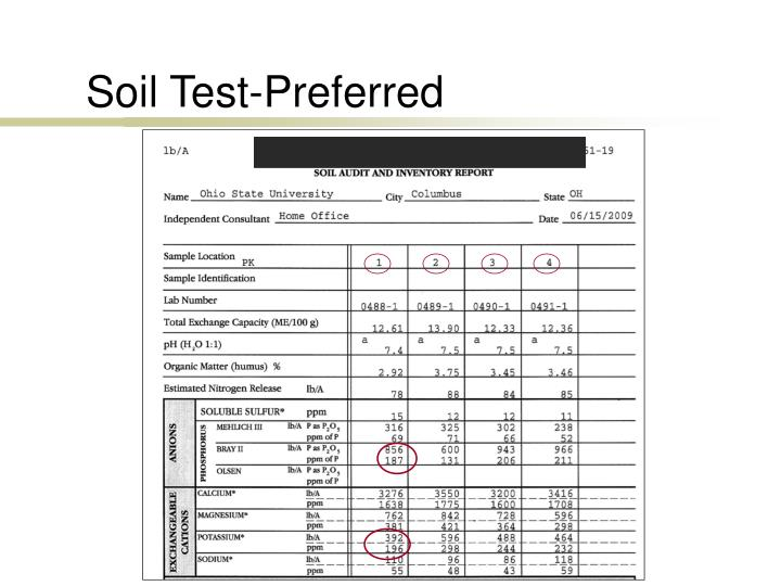 Soil Test-Preferred