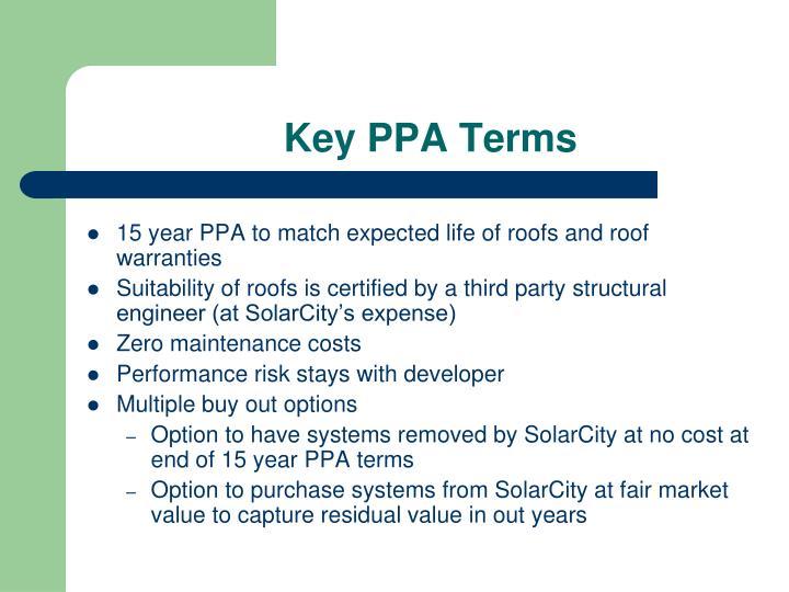Key PPA Terms