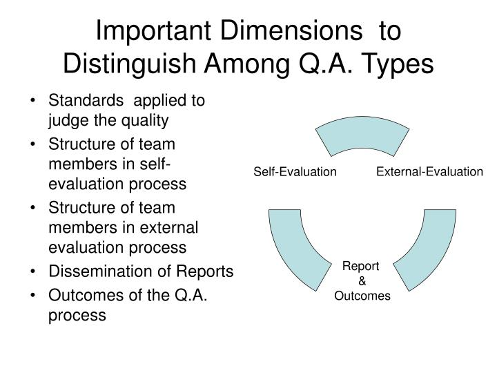 Important Dimensions  to Distinguish Among Q.A. Types