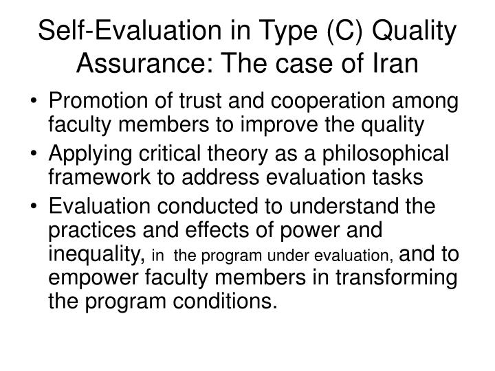 Self-Evaluation in Type (C) Quality Assurance: The case of Iran