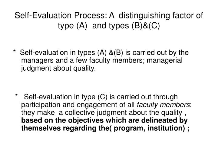 Self-Evaluation Process: A  distinguishing factor of type (A)  and types (B)&(C)