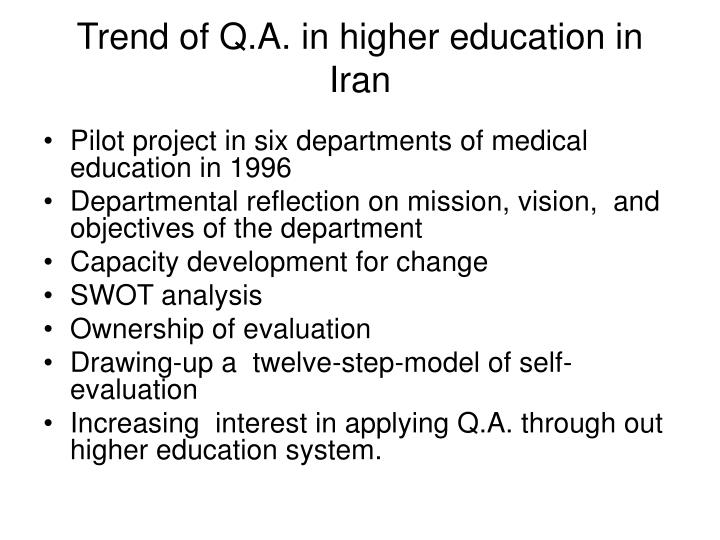Trend of Q.A. in higher education in Iran