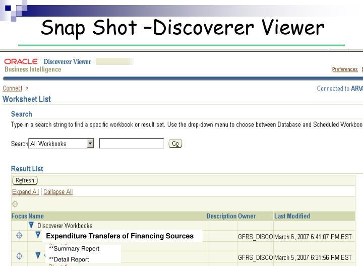 Snap Shot –Discoverer Viewer