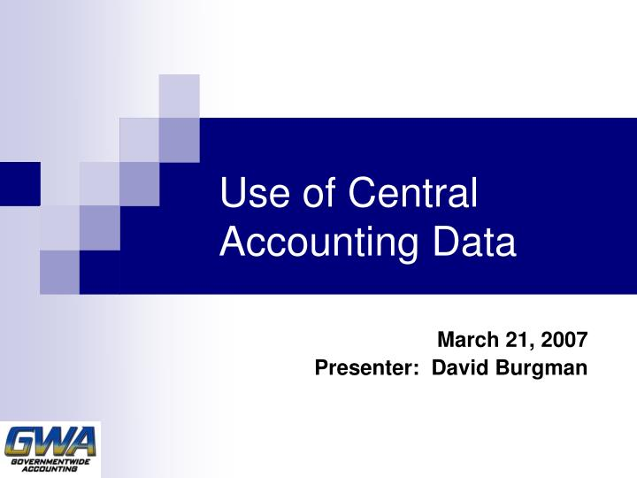 Use of central accounting data