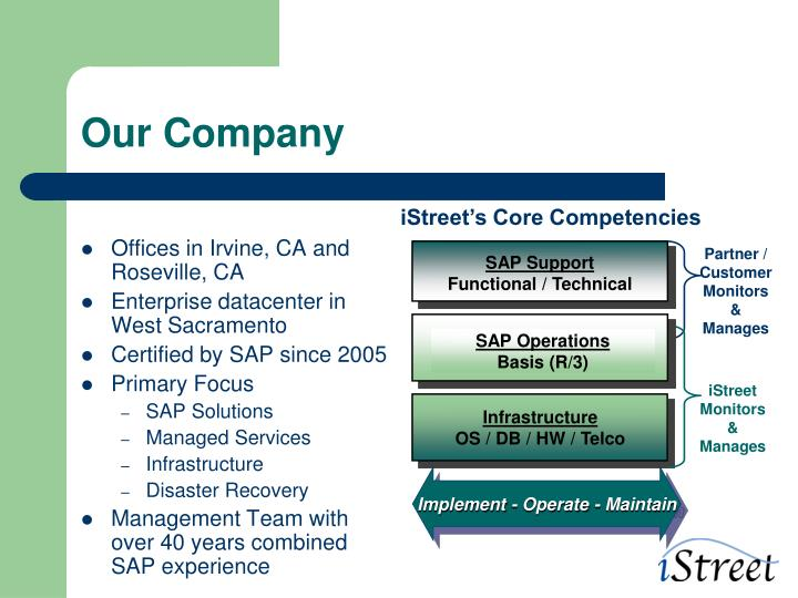 iStreet's Core Competencies