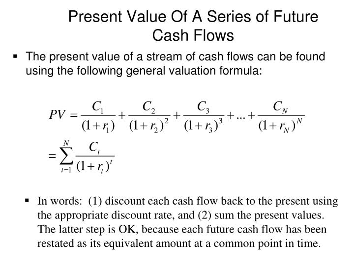 Present Value Of A Series of Future Cash Flows