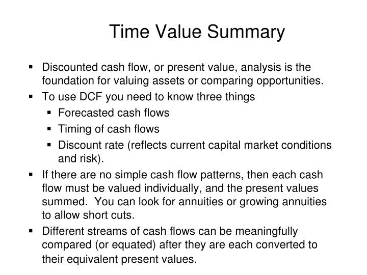 Time Value Summary