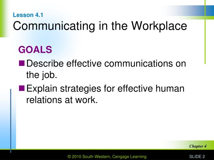Lesson 4 1 communicating in the workplace