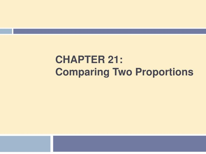 Chapter 21 comparing two proportions