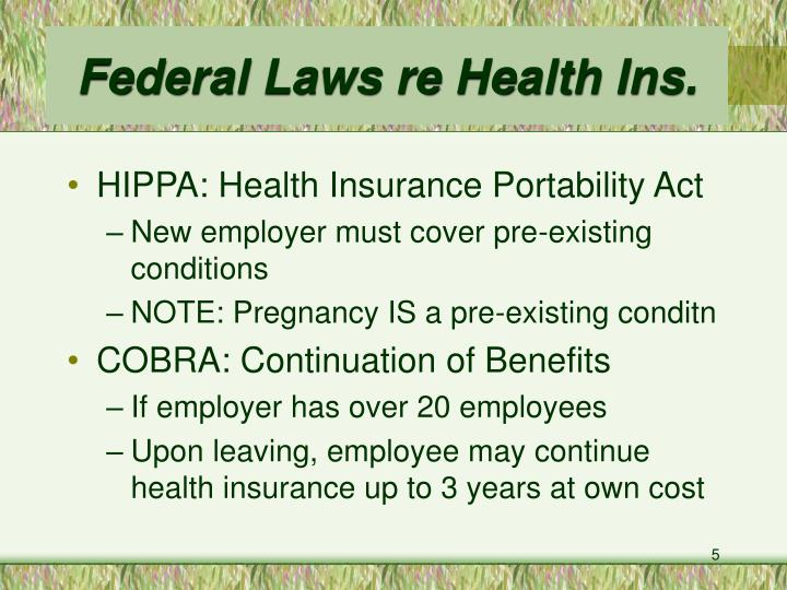 Federal Laws re Health Ins.