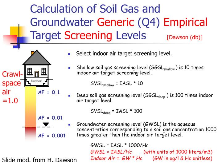 Calculation of Soil Gas and Groundwater