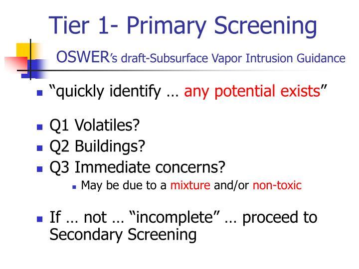 Tier 1- Primary Screening
