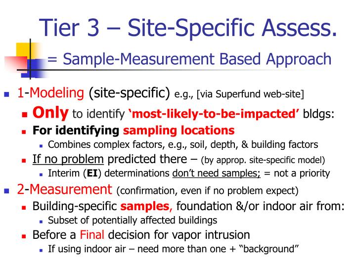 Tier 3 – Site-Specific Assess.