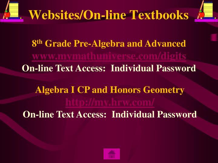 Websites/On-line Textbooks