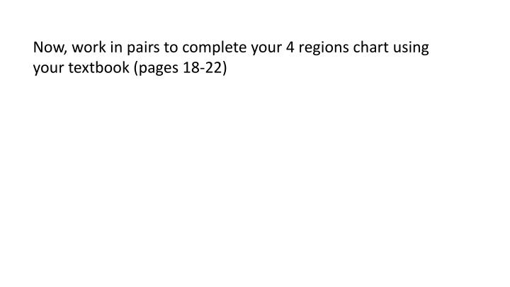 Now, work in pairs to complete your 4 regions chart using your textbook (pages 18-22)