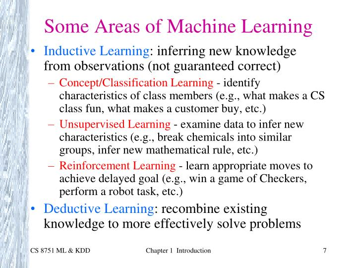 Some Areas of Machine Learning