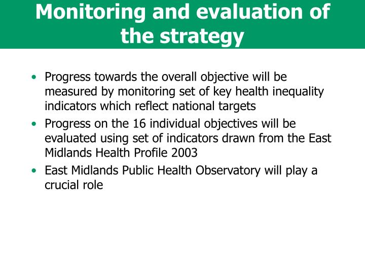 Monitoring and evaluation of the strategy