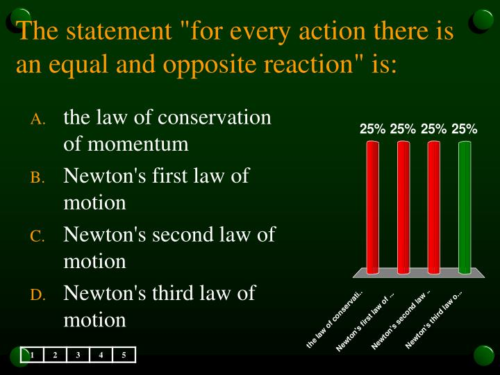 "The statement ""for every action there is an equal and opposite reaction"" is:"