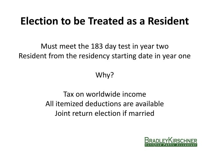 Election to be Treated as a Resident