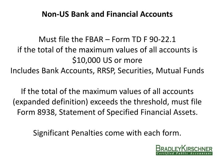 Non-US Bank and Financial Accounts