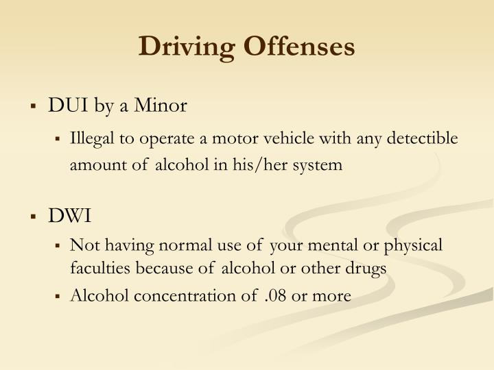 Driving Offenses