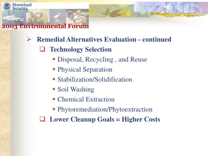 Remedial Alternatives Evaluation - continued