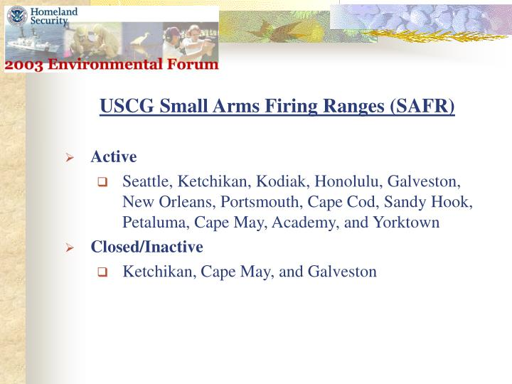 USCG Small Arms Firing Ranges (SAFR)