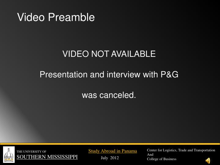 Video Preamble