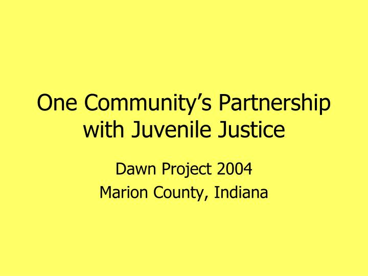 One community s partnership with juvenile justice