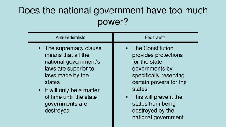 The supremacy clause means that all the national government's laws are superior to laws made by the states