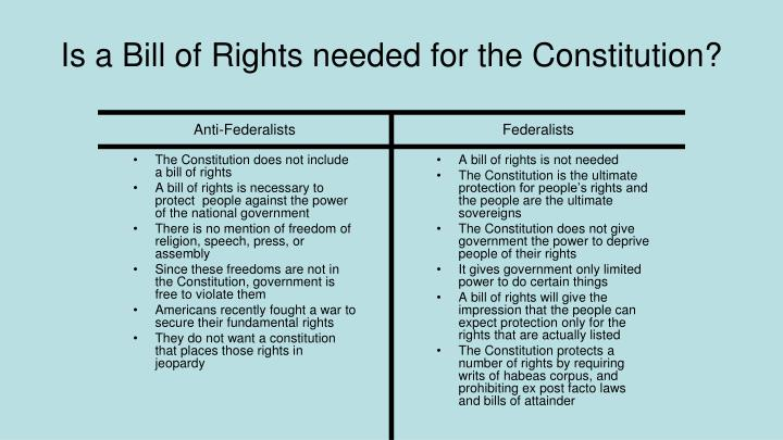 The Constitution does not include a bill of rights