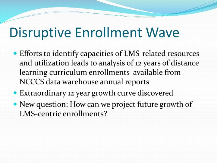 Disruptive Enrollment Wave